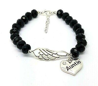 Angel Black Charm Bracelet (Personalised Black Faceted Angel Wing Family Charm Memorial Bracelet)