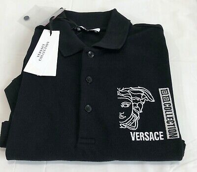 VERSACE COLLECTION MENS SHORT SLEEVE POLO SHIRT  BLACK  SMALL  NWT