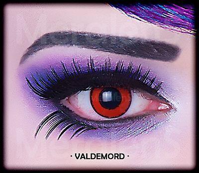 Fun Kontaktlinsen Black Red 2 Stück Jahreslinsen rot Auge weich Hydrogel Linse