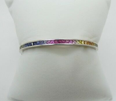 Channel Set Rainbow Gem - Colors of the Rainbow!  DIBA Multi Gemstone Channel Set in 14k White Gold Bangle