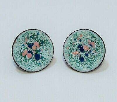 Unique Vintage Art Deco Porcelain (?) on Copper (?) Screw Back Earrings