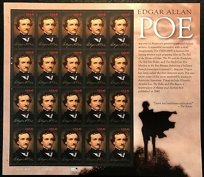 (2009 Scott #4377 - EDGAR ALLEN POE - WRITER - Sheet of 20 - Mint NH)