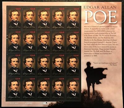 2009 Scott #4377 - EDGAR ALLEN POE - WRITER - Sheet of 20 - Mint NH