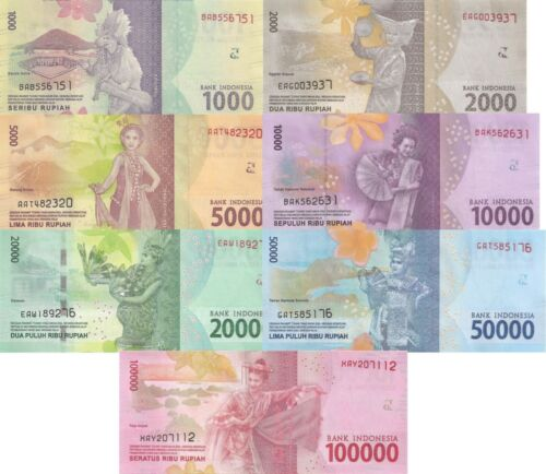 Indonesia 7 Note Set: 1000 to 100000 Rupiah (2016) - p154b-p160b w/ Replacement
