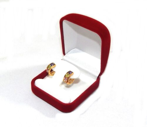 6 Hoop or Post Earring Red Velvet Gift Boxes Jewelry Display