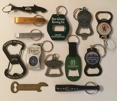 LOT 12+ BEER BOTTLE OPENER BUD BAT MUDSHARK HERMITAGE RED SEAL ALE NEW GLARUS
