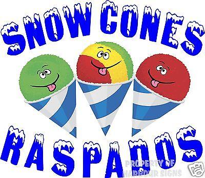 Snow Cones Raspados Decal 14 Sno Shaved Ice Concession Cart Food Truck Vinyl