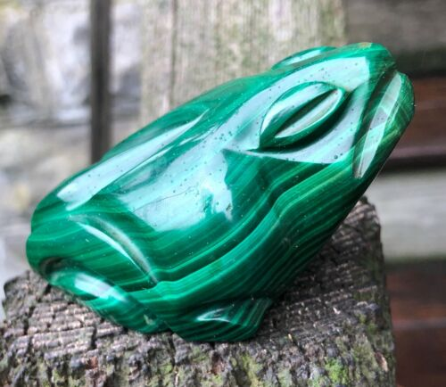 Rare Large Heavy Beautiful Hand Carved Solid Malachite Frog Figure, 339g