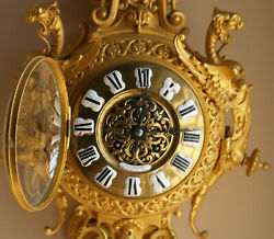 Antique French Dore Bronze Wall clock Possibly Mid 19th Century