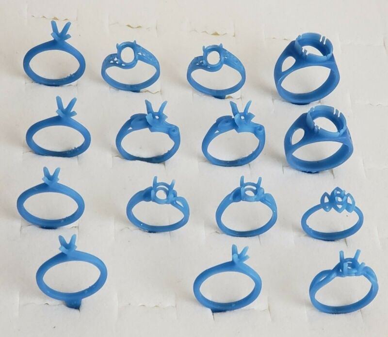 15 Assorted Single Stone Rings. Jewelry patterns  lost wax casting (21-74)