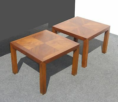 Pair LANE Mid Century Modern Solid Wood END TABLES by Lane