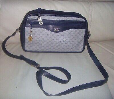 Vintage GUCCI GG Canvas Blue Leather CrossBody Shoulder bag - ITALY
