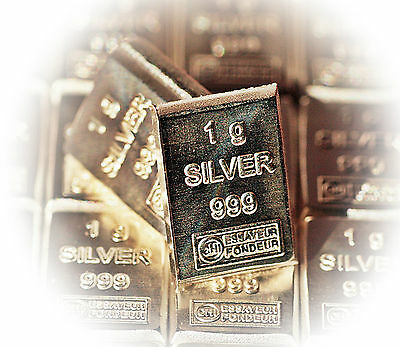 Silberbarren pures Silber 1 Gramm 99,9%  Barren 1g aus Tafelbarren Anlagesilber