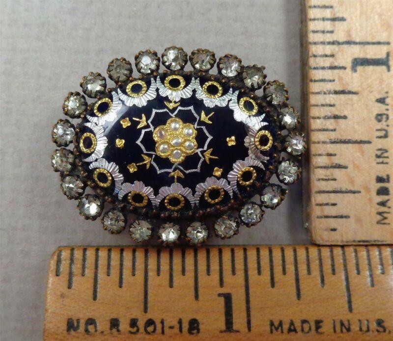 PAILLONS Antique 1800s Enamel BUTTON w/ Gold & Silver Detail, Unusual Oval Shape