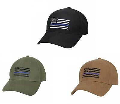 Blue Police Hat (Police Thin Blue Line Flag Cap Low Profile Hat Baseball Support Law)