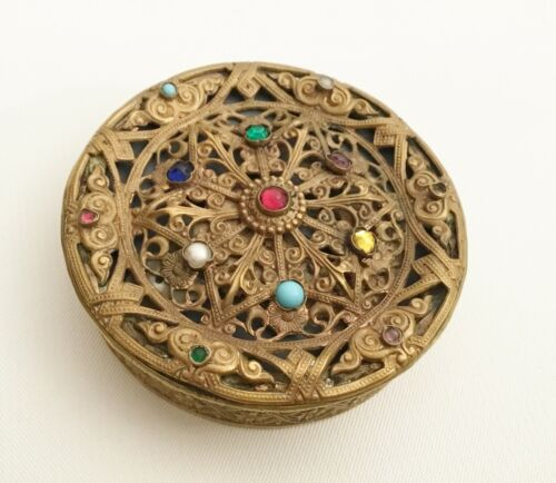 Antique Austria Signed Jeweled Bronze Hinged Box Compact