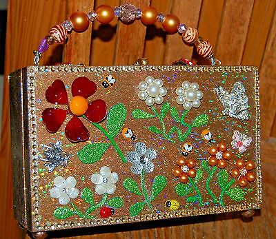 Floral GARDEN PARTY Wood Box Purse THATS JUST CRAZY! Handbag OOAK USA Butteryfly