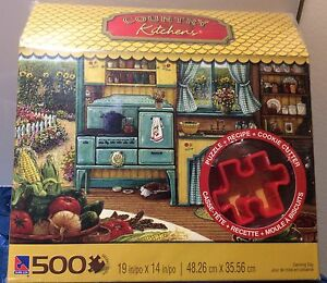 "Country Kitchens ""Cookie Baking ""500 pc Puzzles w/Cookie Cutter"