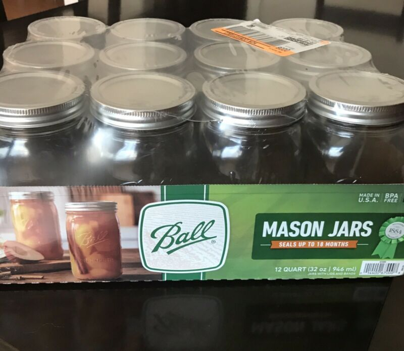 mason jars 1qt-32oz wide mouth box of 12