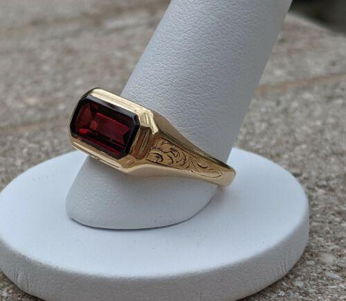 14 Karat Gold Antique Man's Pinky Ring with Garnet and Unusual Hallmark