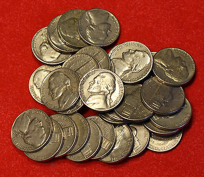 1957-D JEFFERSON NICKEL ROLL 40 COINS CIRCULATED  COINS CHECK OUT STORE