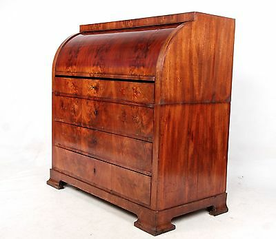 Antique Bureau Roll Top Bureau Biedermeier Rare Fine Quality Swedish Writing Des