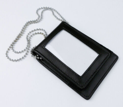 US Police ID Holder Badge Holder Black Leather ID BADGE Case With Neck Chain