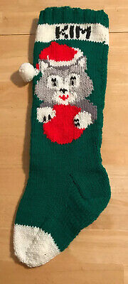 """Vintage Christmas Green Red Hand Knit Kitten Cat PersonalIzed KIM Stocking 20"""" ()"""
