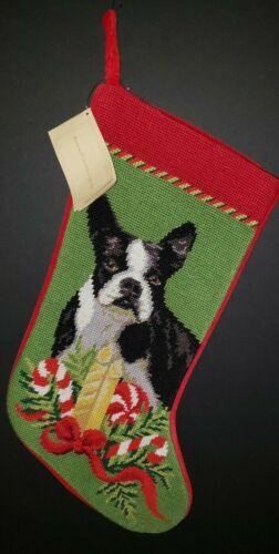 BOSTON TERRIER Finished  Handmade Needlepoint Dog Christmas Stocking NWT