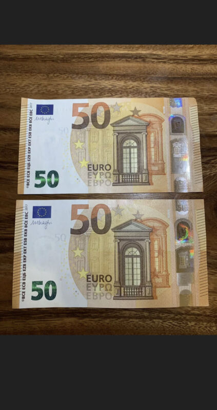 50 Euro Circulated Banknote. 2 X 50 Euros Note. 100 Euros Total. EU Bills Z