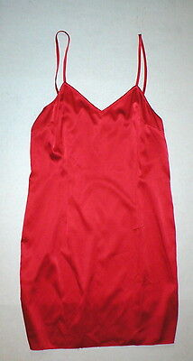 New Designer Worth New York Silk Red Chemise Night Gown 4 Womens Babydoll Adjust