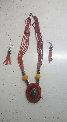 Egyptian Africa Scarab,Faux Amber,Glass Beads Necklace Set/Wearable Art Kwanzaa