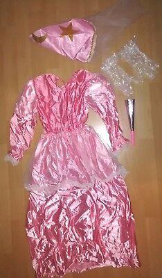 Hübsches Prinzessinnenkleid Mädchen Kostüm Karneval Gr.128 Rosa +Hut +Handschuhe
