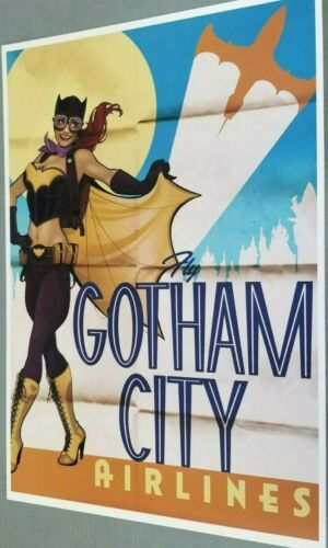 BATGIRL GOTHAM CITY AIRLINES DC COMICS PRINT 12 x 18 #oa-54
