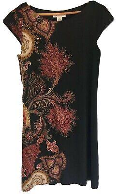 Liz Claiborne Black Red Cap Sleeve Dress Women's - Thanksgiving Dress