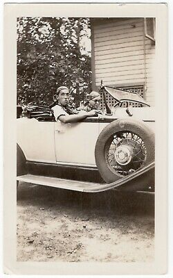 TWO MEN IN HALLOWEEN COSTUMES IN 1929 CHRYSLER, VINTAGE SEPIA TONED PHOTO, #325