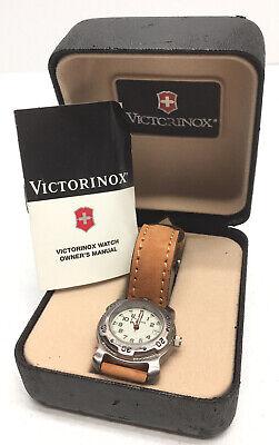 Victorinox Swiss Made Wrist Watch in Box W/ Manual Model 35081 Leather Band