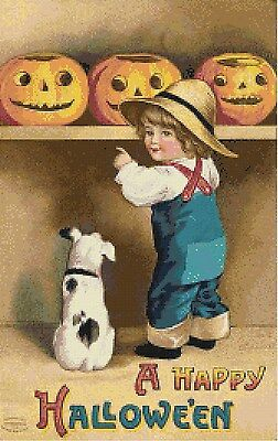 Handmade Vintage Retro HAPPY HALLOWEEN Boy & Dog DIGITAL Cross-Stitch Pattern