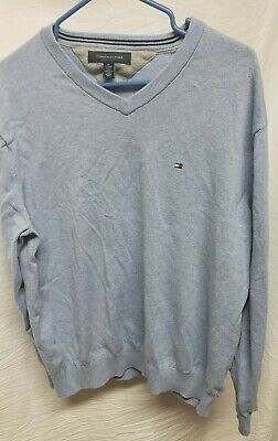 Tommy Hilfiger Men's Cotton V-Neck Sweater, Medium Chambray, X-Large
