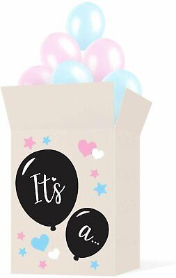 Gender Reveal Box With Balloons (Gender Reveal Box Sticker Kit - Decorate Your Own Balloon Box - Use)