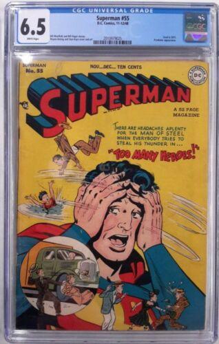 **SUPERMAN #55 CGC 6.5**(NOV-DEC 1948, DC)**GOLDEN AGE BEAUTY**WHITE PAGES**RARE