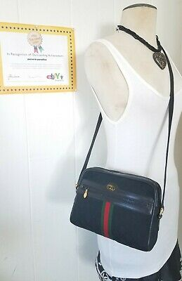 Vintage Gucci Shoulder Bag Purse GG Mono Web Stripe Ophidia Auth Canvas Leather