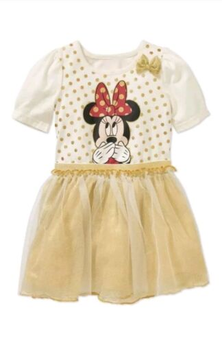 Disney Minnie Mouse Toddler Girl's Gold Polka Dot Tulle Dres