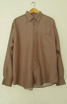 BUGATCHI UOMO Striped LS Button Down Dress Shirt Chocolate Brown Size Large Button Down Chocolate Apparel