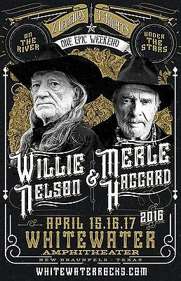 """WILLIE NELSON & MERLE HAGGARD 2016 """"WHITEWATER AMPHITHEATER"""" CONCERT TOUR POSTER"""