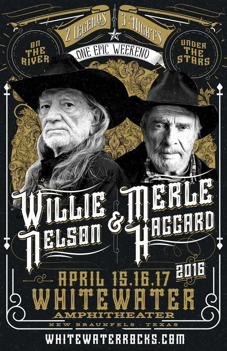 WILLIE NELSON MERLE HAGGARD 2016 WHITEWATER AMPHITHEATER CONCERT TOUR POSTER - $19.99