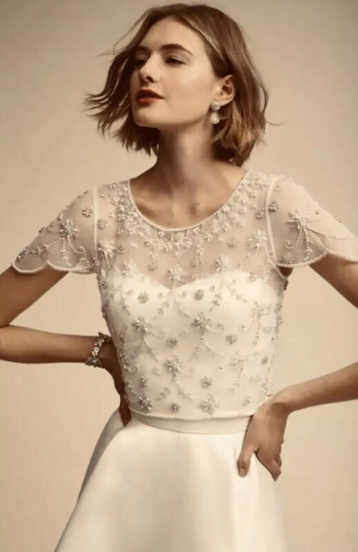NWT $220 BHLDN Moyna Couture Elianne Beaded Wedding Top Size Large