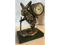 NEW OLD STOCK FRENCH COUNTRY RABBIT TRAVELER ~ W// CLOCK ~ ANTIQUE REPRODUCTION