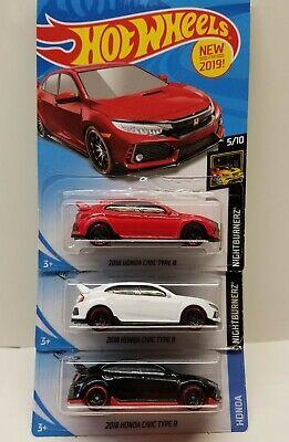 💥Hot Wheels 18' Honda Civic Type R Black/Red/White Import JDM New!!!(LOT OF 3)