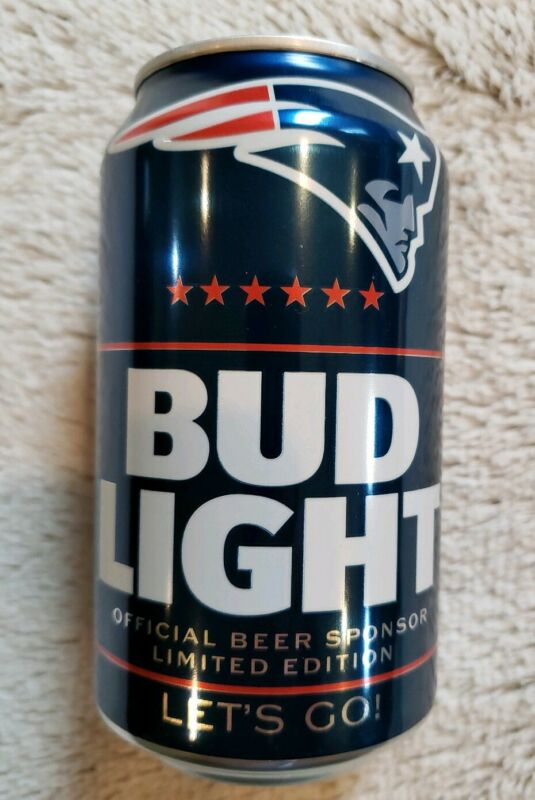 2019 New England Patriots Bud Light NFL Beer Can - Bottom Opened Empty
